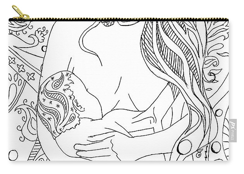Birth Carry-all Pouch featuring the drawing Breastfeeding Is Beautiful by Kate Evans
