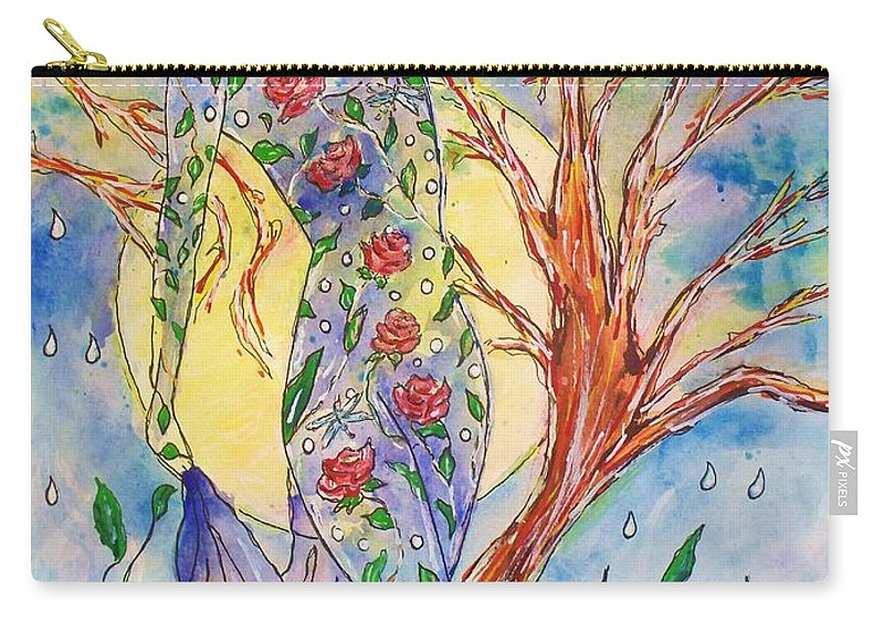 Female Figure Carry-all Pouch featuring the painting Breath Of Life by Robin Monroe