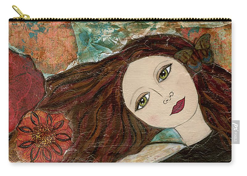 Girl Carry-all Pouch featuring the mixed media Breathe by Krista Brock