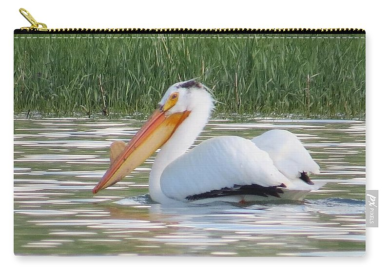 American White Pelican Carry-all Pouch featuring the photograph Breeding American White Pelican On Lower Sunshine by Christi Chapman