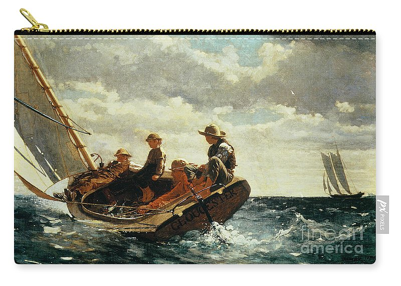 Breezing Up Carry-all Pouch featuring the painting Breezing Up by Winslow Homer