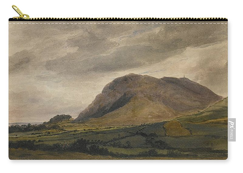 David Cox Carry-all Pouch featuring the painting Breidden Hill In The Welsh Borders by MotionAge Designs