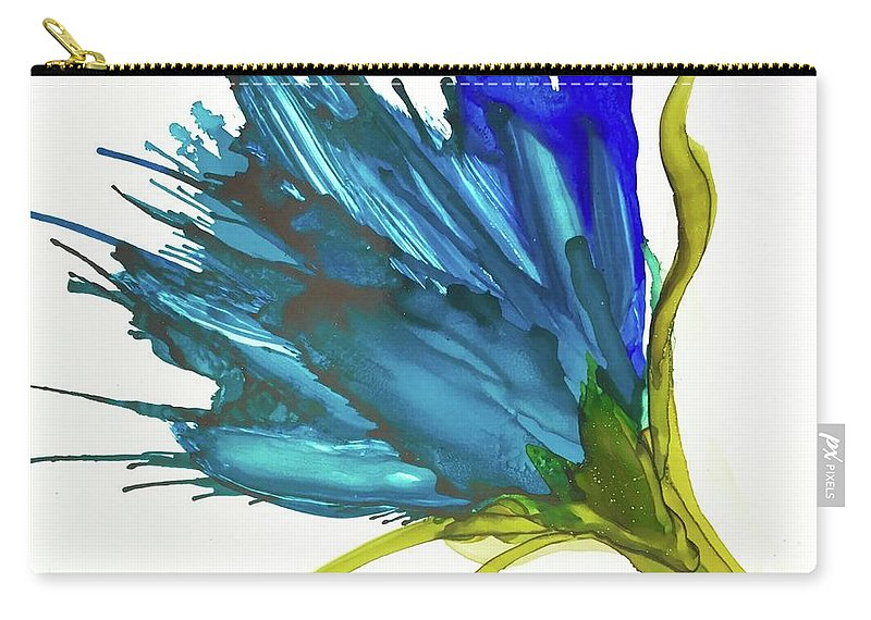 Blue Whips Flower Carry-all Pouch featuring the painting Brenda by Leti C Stiles