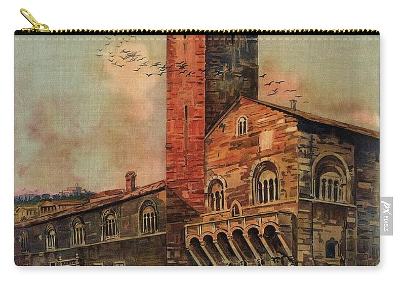 Brescia Carry-all Pouch featuring the photograph Brescia, Italy - Birds Flying Around Tower - Retro Travel Poster - Vintage Poster by Studio Grafiikka