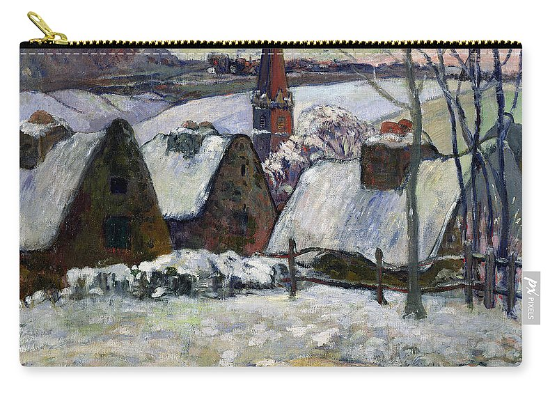 Breton Village Under Snow Carry-all Pouch featuring the painting Breton Village Under Snow by Paul Gauguin