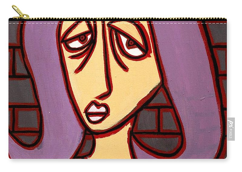Clay Carry-all Pouch featuring the painting Brick Lady by Thomas Valentine
