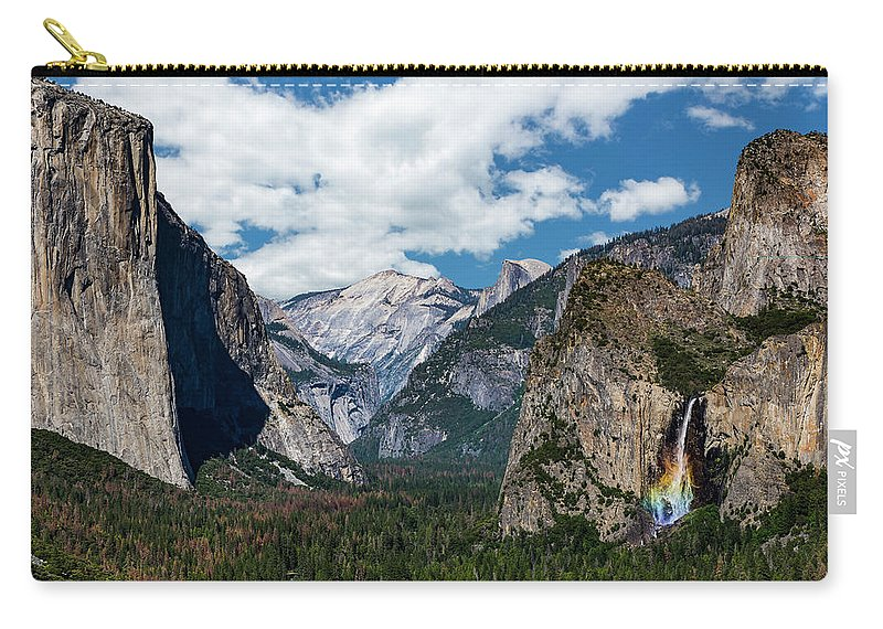 Yosemite Carry-all Pouch featuring the photograph Bridal Veil Falls Rainbow by Daniel Kelly
