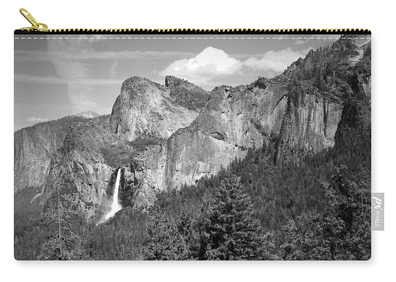 Black And White Carry-all Pouch featuring the photograph Bridalveil Falls From Tunnel View B And W by Joyce Dickens