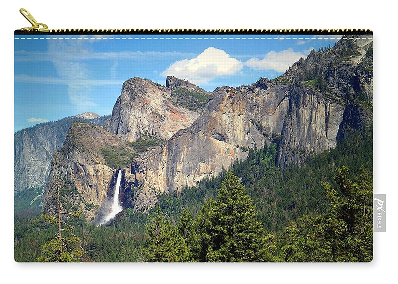 Tunnel-view Carry-all Pouch featuring the photograph Bridalveil Falls From Tunnel View by Joyce Dickens