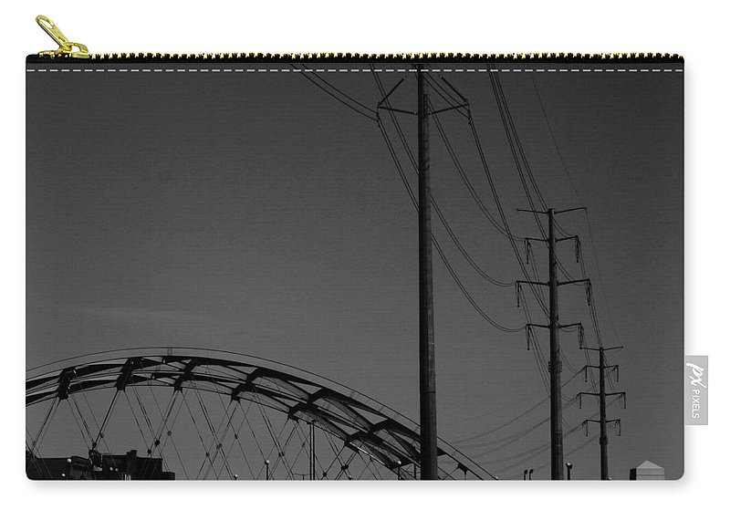 Metal Structures Carry-all Pouch featuring the photograph Bridge And Power Poles At Dusk by Angus Hooper Iii