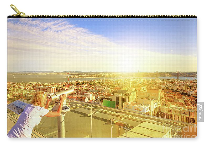 Lisbon Carry-all Pouch featuring the photograph Bridge April 25 And Cristo Rei by Benny Marty