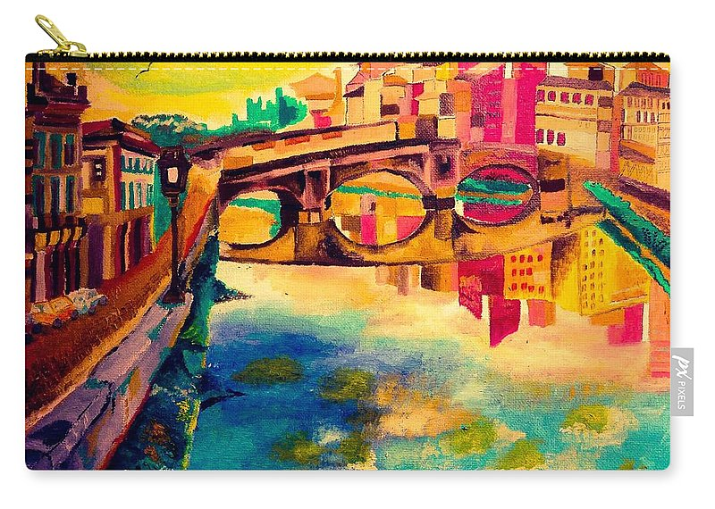 Bridge Carry-all Pouch featuring the painting Bridge by Ashes Rose