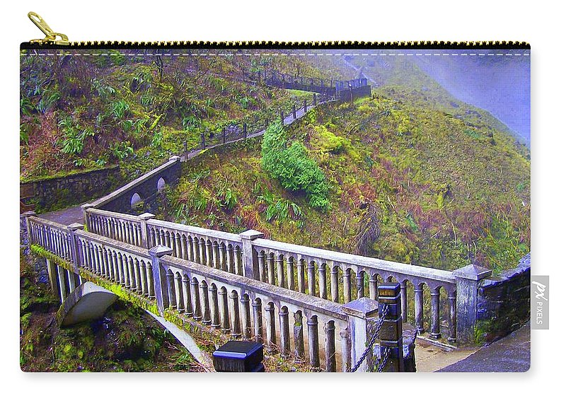 Bridge Carry-all Pouch featuring the photograph Bridge at Multnomah Falls by Lisa Rose Musselwhite
