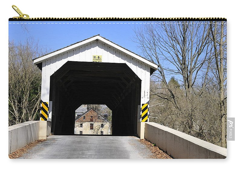 Covered Bridge Carry-all Pouch featuring the photograph Bridge At The Mill. by David Arment