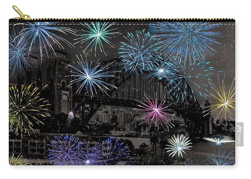 Fireworks Carry-all Pouch featuring the photograph Bridge Fireworks by Douglas Barnard