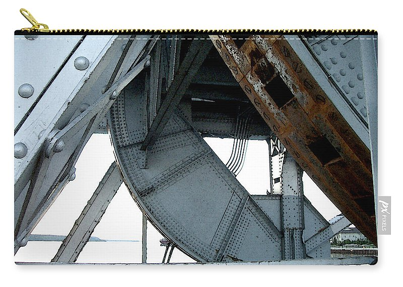 Steel Carry-all Pouch featuring the photograph Bridge Gears by Tim Nyberg