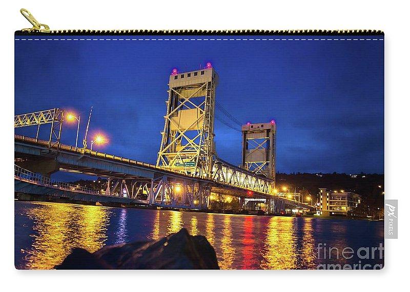 Bridge Carry-all Pouch featuring the photograph Bridge Houghton/hancock Lift Bridge -2669 by Norris Seward