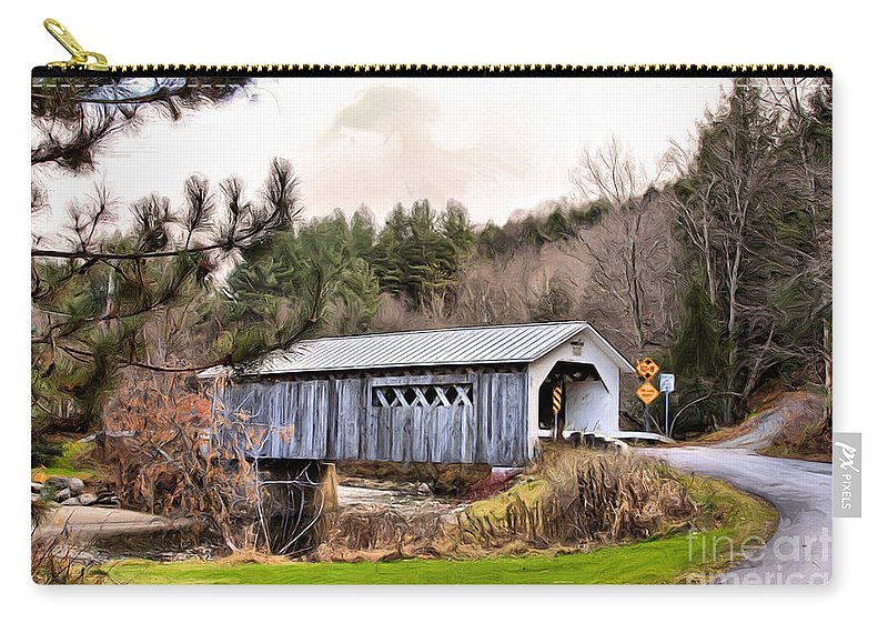 Covered Carry-all Pouch featuring the mixed media Bridge In Montgomery by Deborah Benoit