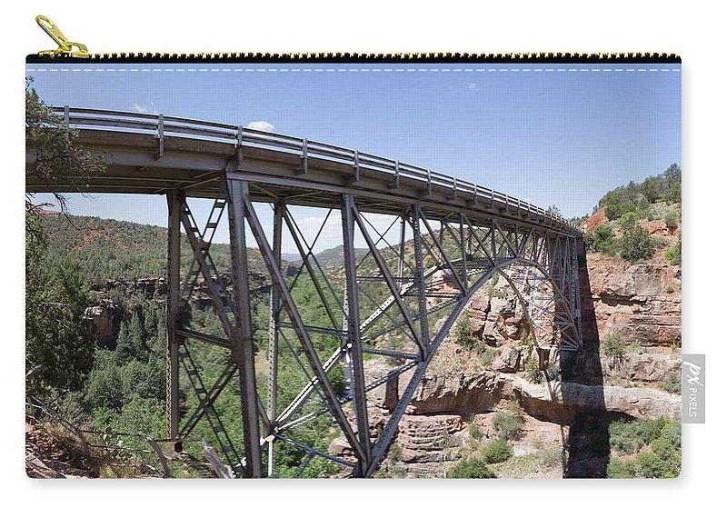 Bridge Sedona Sliderock Pineflat Pineflat Campground Forest Old Vintage Steel Arch Carry-all Pouch featuring the photograph Bridge Landscape by Chris Ranieri