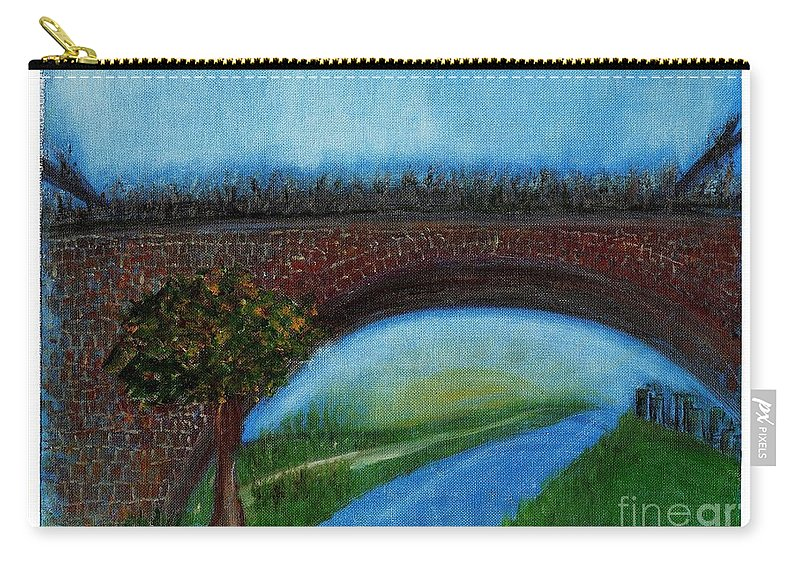 Landscape Carry-all Pouch featuring the painting Bridge March by Corri Johanson