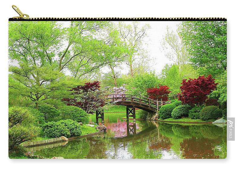 Print On Canvas Carry-all Pouch featuring the painting Bridge Over Calm Waters by Susanna Katherine