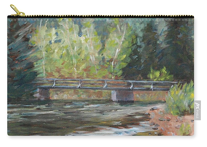 Plein Air Carry-all Pouch featuring the painting Bridge Over The Poudre by Mary Benke