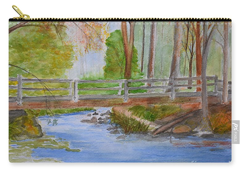 Creeks Carry-all Pouch featuring the painting Bridge To Serenity  Smithgall Woods State Park by Lucy McGuffey