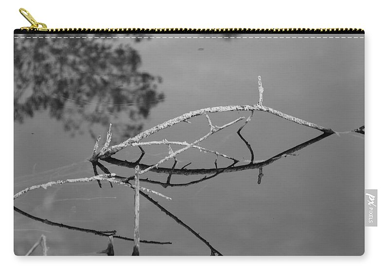 Black And White Carry-all Pouch featuring the photograph Bridges In Wood by Rob Hans
