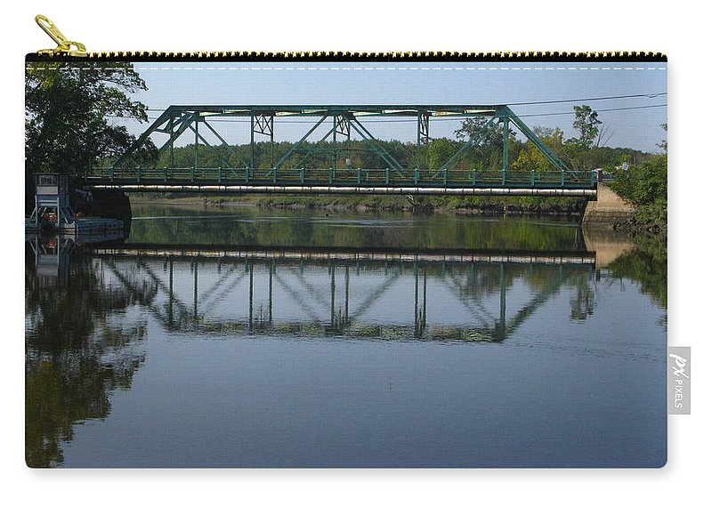 Bridging The Cathance Carry-all Pouch featuring the photograph Bridging The Cathance by Bill Tomsa