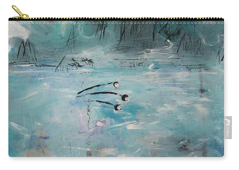 Abstract Paintings Carry-all Pouch featuring the painting Brierly Beach by Seon-Jeong Kim