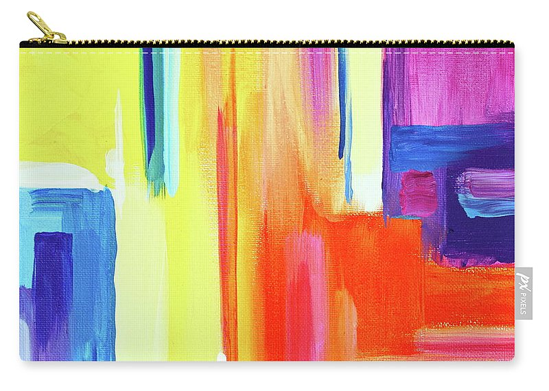 Compelling Vibrant Colorful Minamilist Artwork Consisting Of Mostly Blocky Rectangular Areas . Carry-all Pouch featuring the painting Bright Blocks by Priscilla Batzell Expressionist Art Studio Gallery