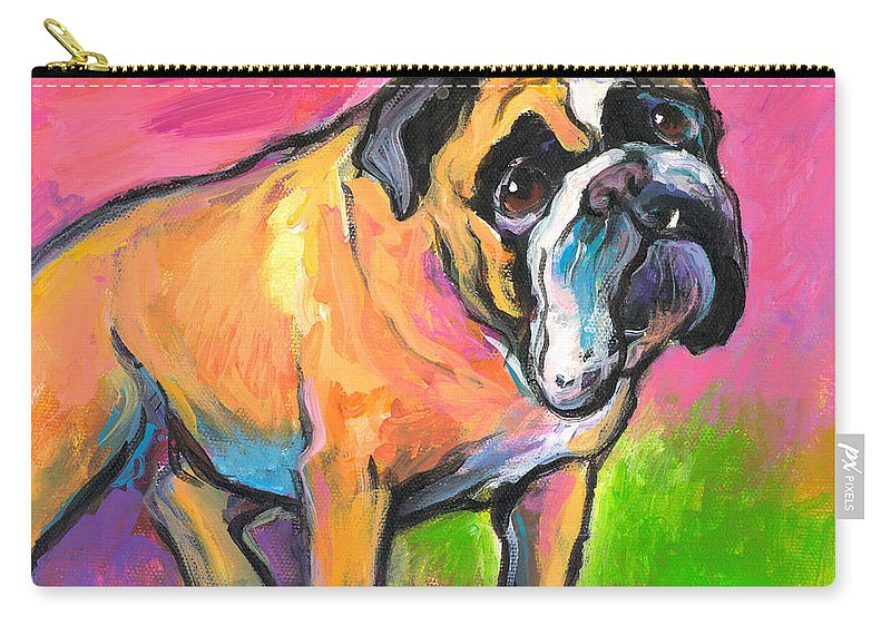 Bulldog Painting Carry-all Pouch featuring the painting Bright Bulldog Portrait Painting by Svetlana Novikova