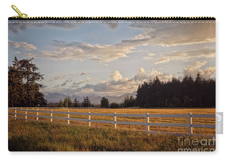 Mountains Carry-all Pouch featuring the photograph Bright Evening Light by Karen Goodwin