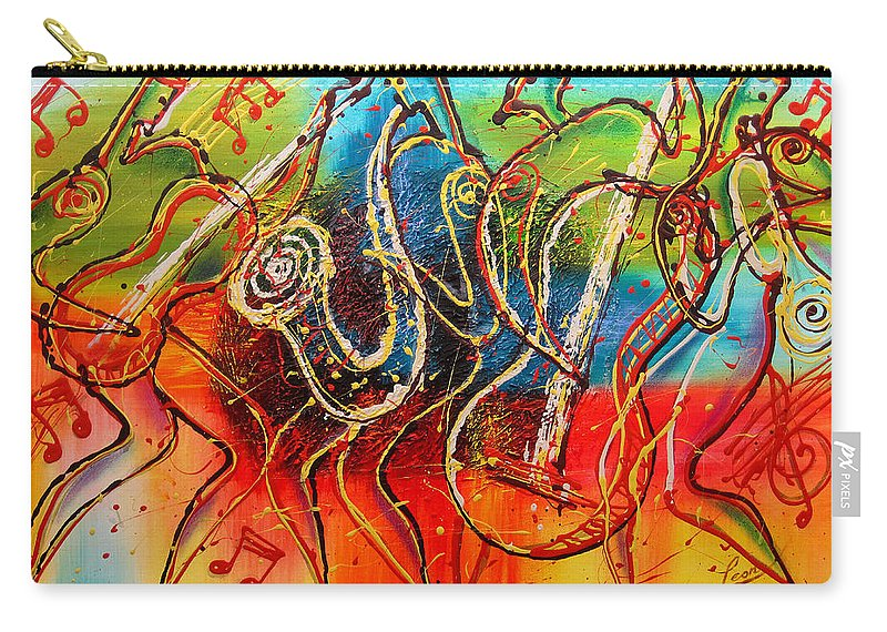 West Coast Jazz Paintings Carry-all Pouch featuring the painting Bright Jazz by Leon Zernitsky