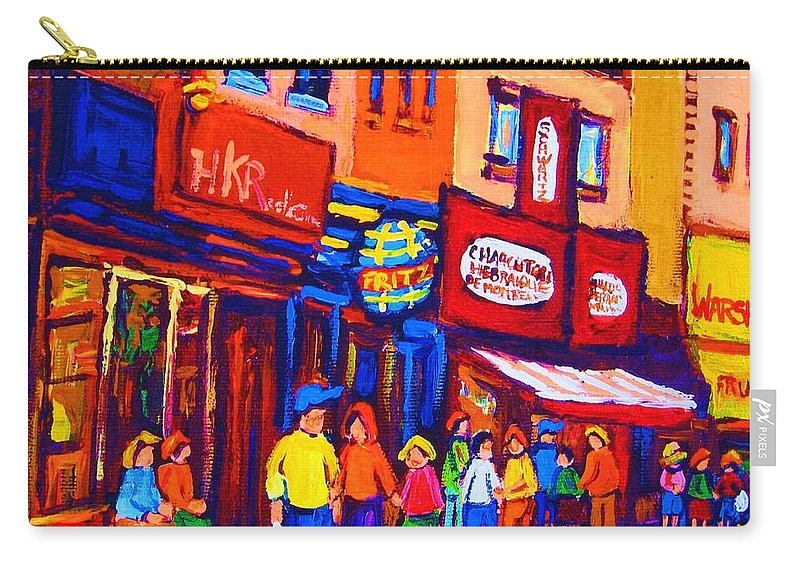 Schwartz's Hebrew Deli Carry-all Pouch featuring the painting Bright Lights On The Main by Carole Spandau