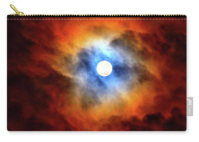Night Sky Carry-all Pouch featuring the photograph Bright Moon And Dark Clouds by Carol Stephenson