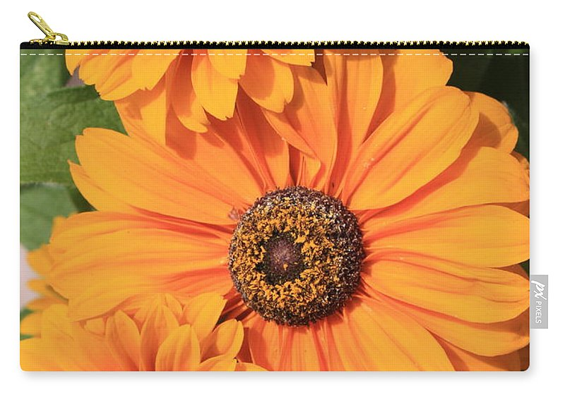 Orange Flowers Carry-all Pouch featuring the photograph Bright Orange Flowers by Carol Groenen