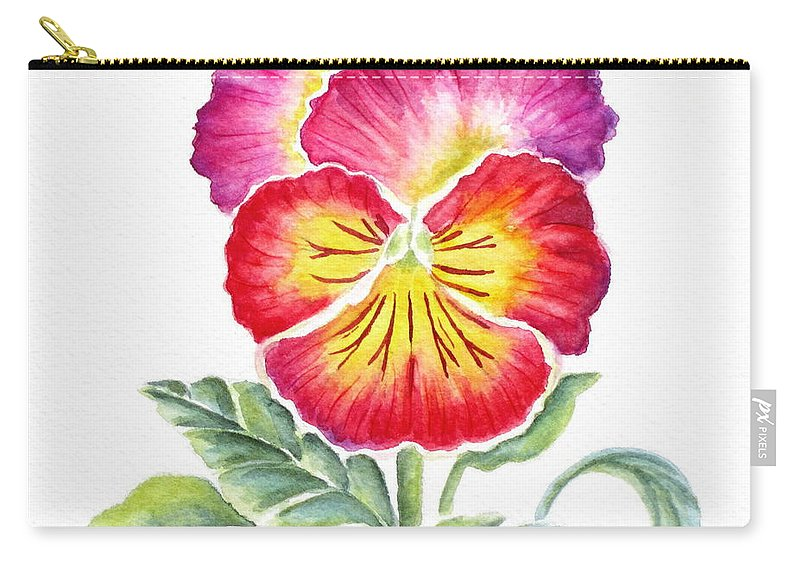 Bright Pansy Carry-all Pouch featuring the painting Bright Pansy by Deborah Ronglien