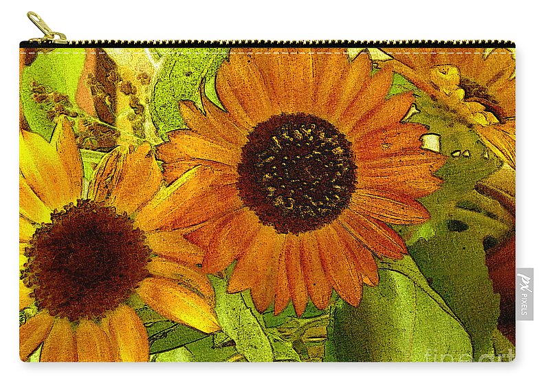 Sunflowers Carry-all Pouch featuring the digital art Bright Regalia by RC deWinter