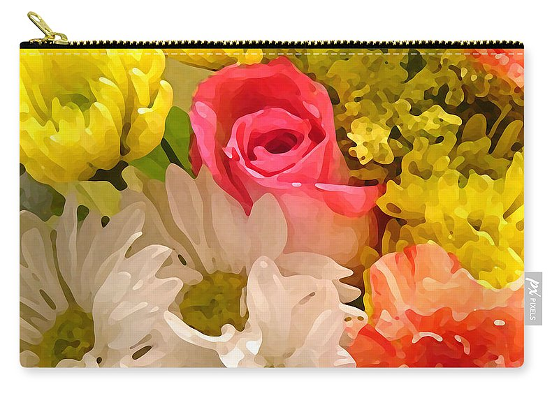 Floral Carry-all Pouch featuring the painting Bright Spring Flowers by Amy Vangsgard