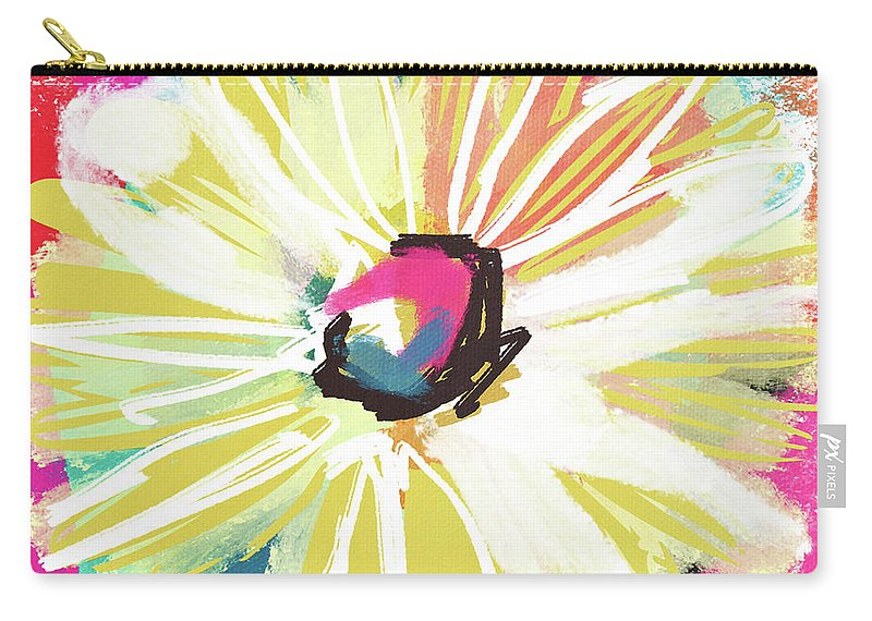 Flower Carry-all Pouch featuring the mixed media Bright Yellow Flower- Art by Linda Woods by Linda Woods