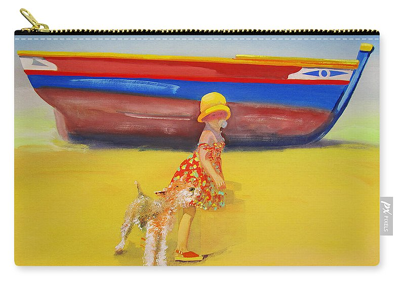 Wire Haired Fox Terrier Carry-all Pouch featuring the painting Brightly Painted Wooden Boats With Terrier And Friend by Charles Stuart
