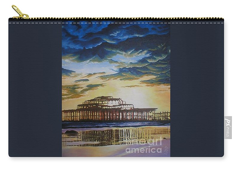 Brighton West Pier Derelict Victorian Sad Beach Sand Sunset Carry-all Pouch featuring the painting Brighton West Pier by Pauline Sharp