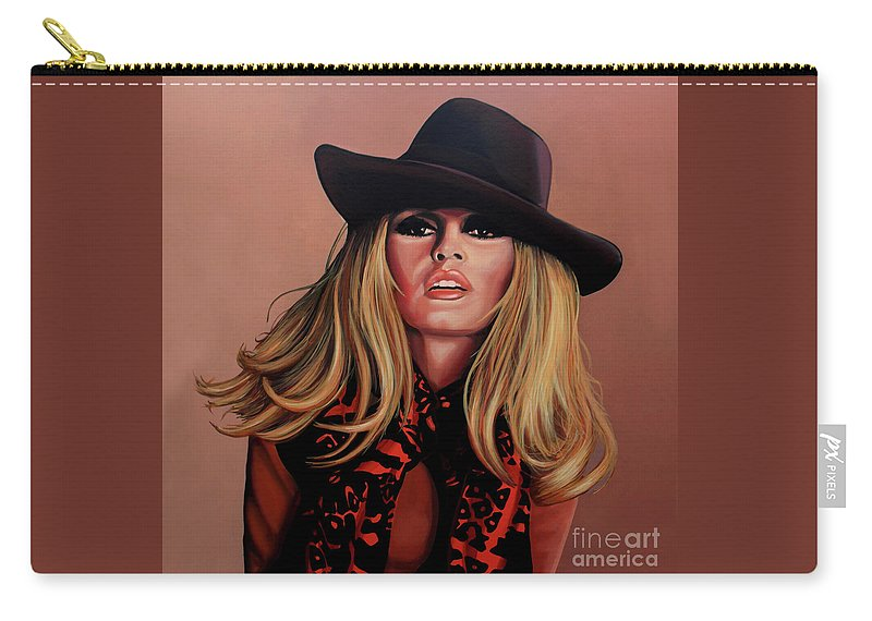Brigitte Bardot Carry-all Pouch featuring the painting Brigitte Bardot Painting 1 by Paul Meijering