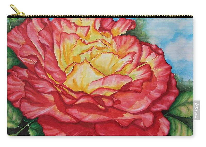 Rose Carry-all Pouch featuring the painting Brilliant Bloom by Conni Reinecke