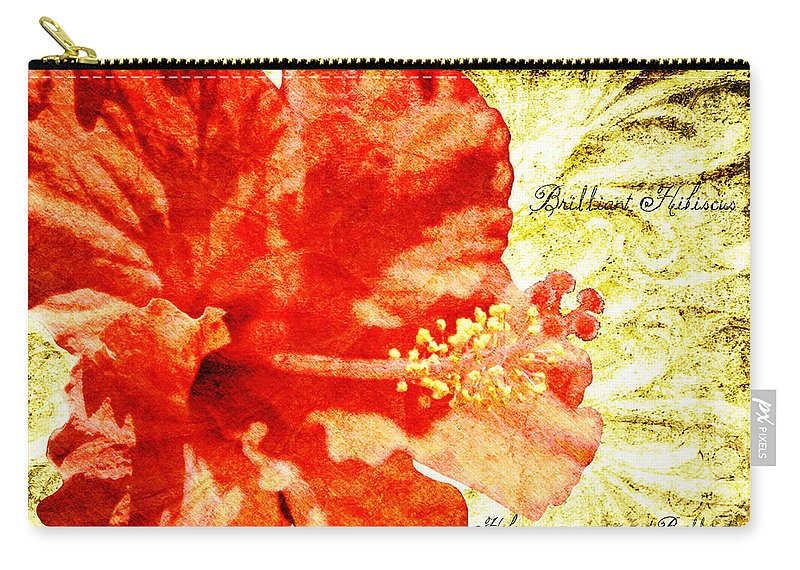 Hibiscus Carry-all Pouch featuring the digital art Brilliant Hibiscus by Teresa Mucha