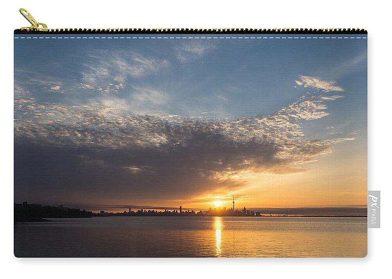 Georgia Mizuleva Carry-all Pouch featuring the photograph Brilliant Toronto Skyline Sunrise Over Lake Ontario by Georgia Mizuleva