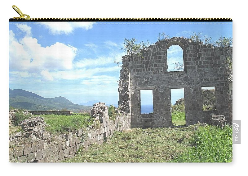 St Kitts Carry-all Pouch featuring the photograph Brimstone Ruins by Ian MacDonald