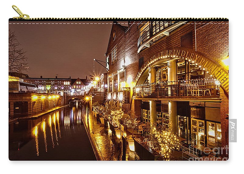 Birmingham Carry-all Pouch featuring the photograph Brindleyplace At Night by MSVRVisual Rawshutterbug