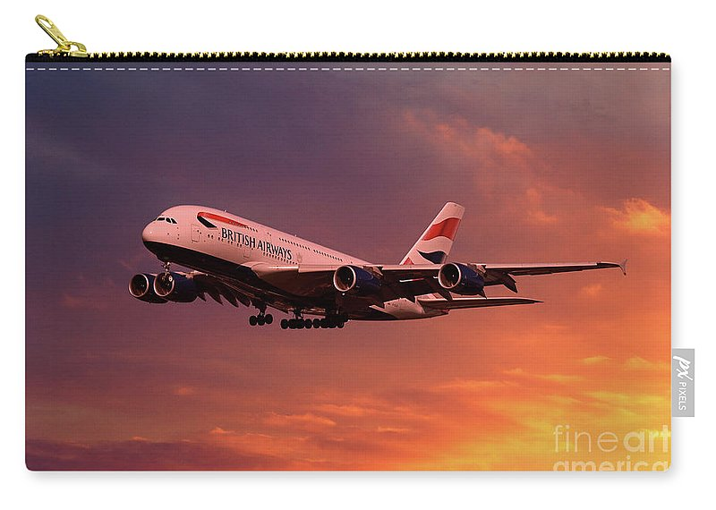 A380-800 Carry-all Pouch featuring the digital art British Airways A380 G-xlef by J Biggadike
